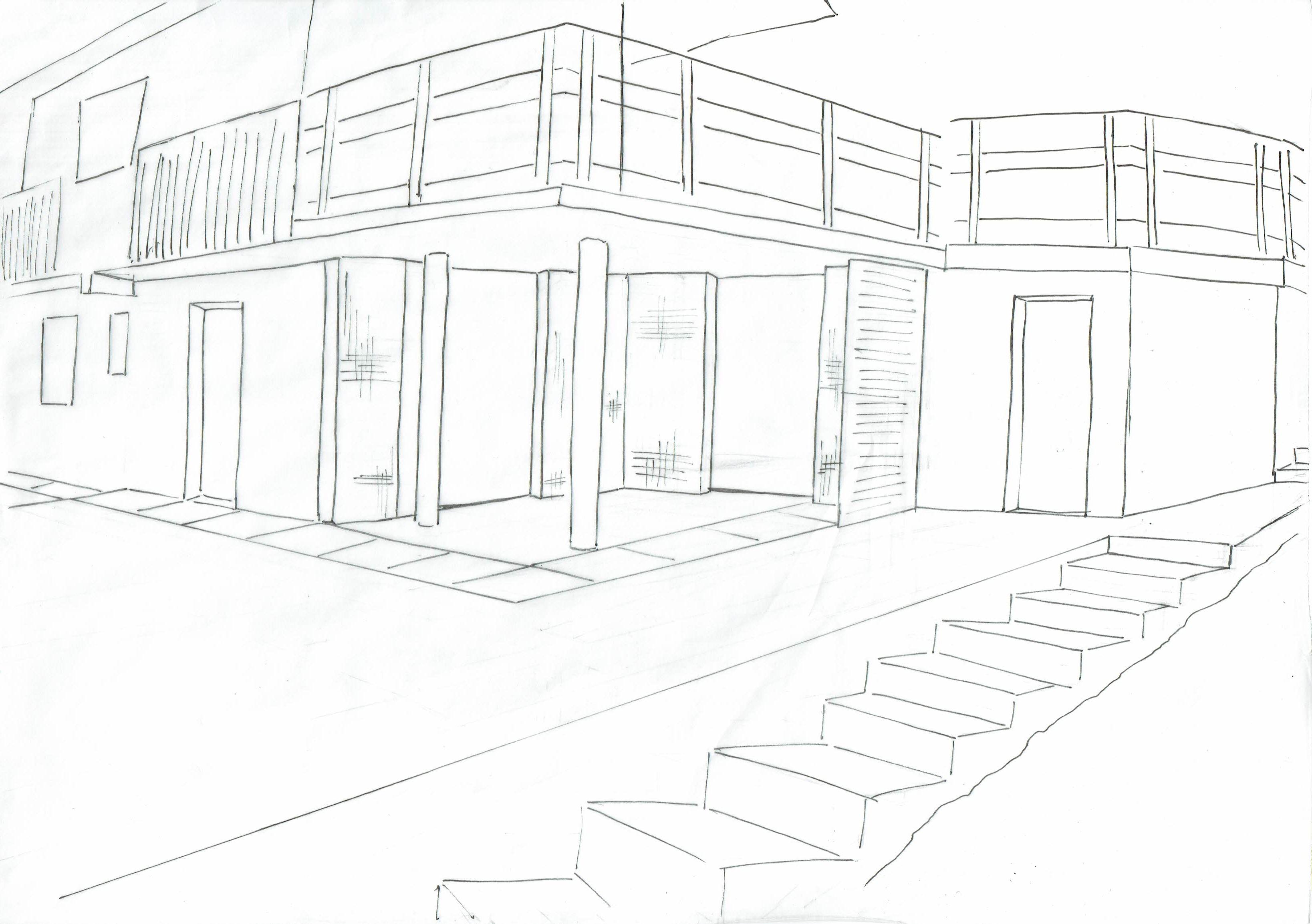 Esquisse N&B brute espace sous terrasse